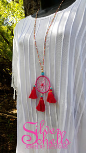Hippie Chic Dream Catcher Tassels Magenta Long Beaded Necklace Jewelry