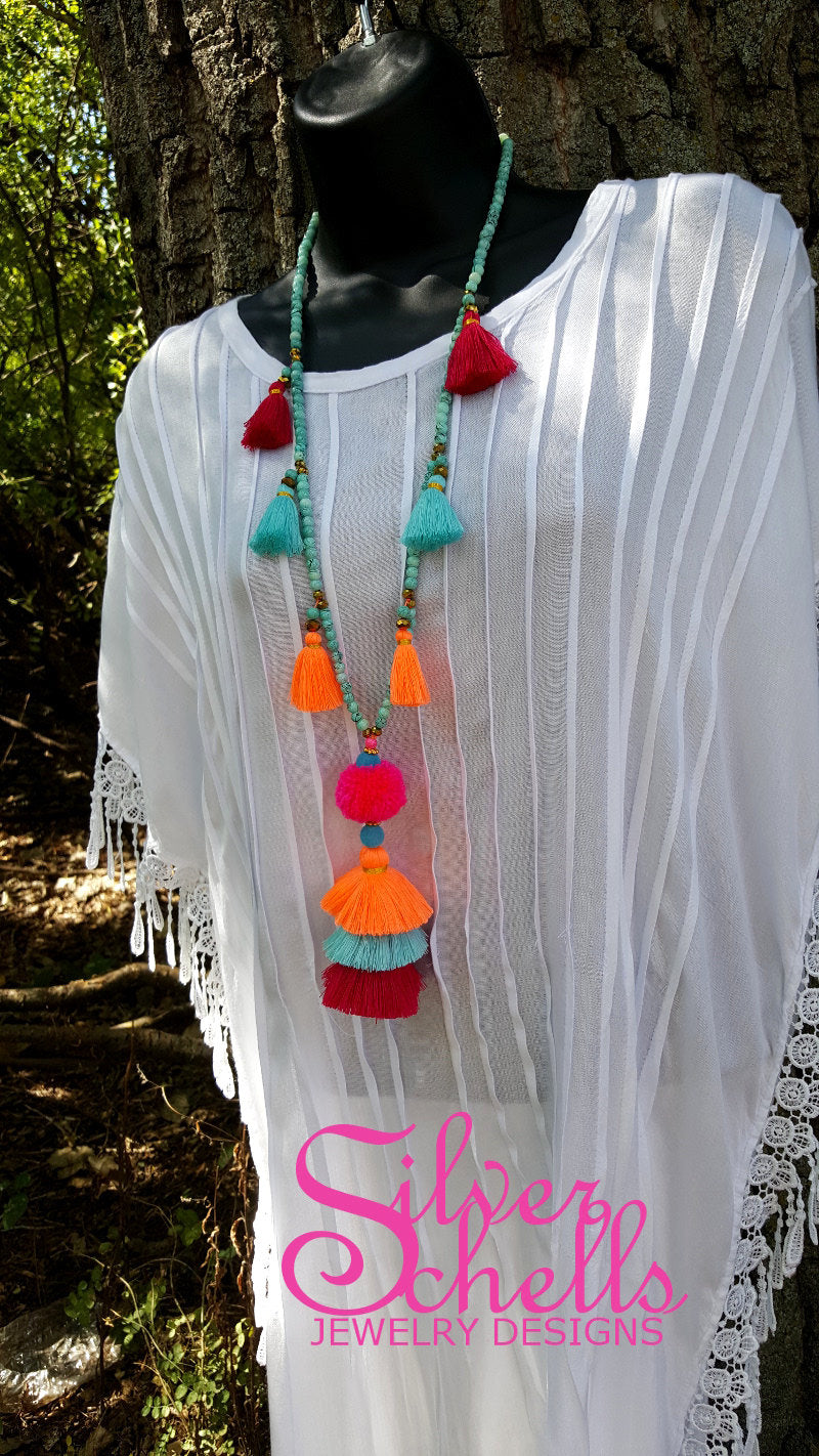 Romantic Playful Tassel Hippie Boho Chic Long Wood Bead Necklace Magenta Turquoise Orange