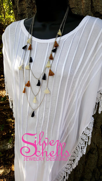 3 Layer Tassel Long Necklace Black Brown Off White Tan