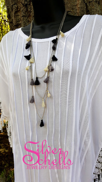 3 Layer Tassel Long Necklace Black Grey Off White Tan