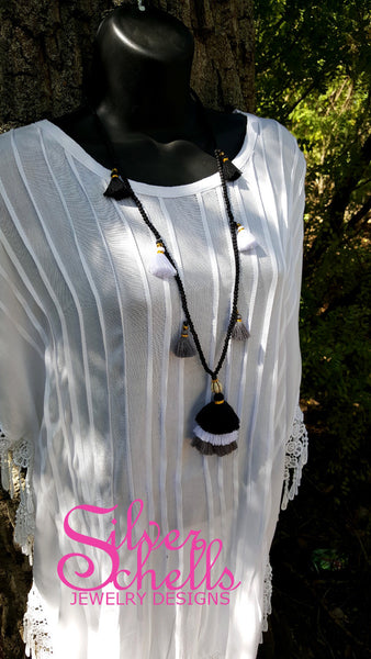 Romantic Long Tassel Necklace Black White Grey