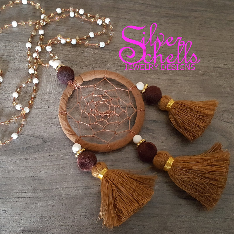 Hippie Chic Bohemian  Dream Catcher Tassels Brown Long Necklace Jewelry