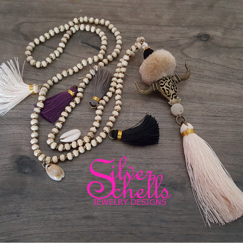 Bull Cow Head Skull Tassel Hippie Boho Chic Long Pom Pom Necklace