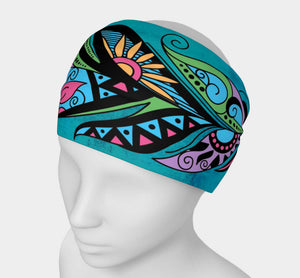 Teal Bohemiam Free Spirit Feather Yoga Headband