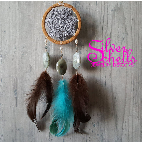 Dream Catcher Gemstone Wall Hanging w/ Necklace - Bohemian Decor - Dream Catcher With Feathers