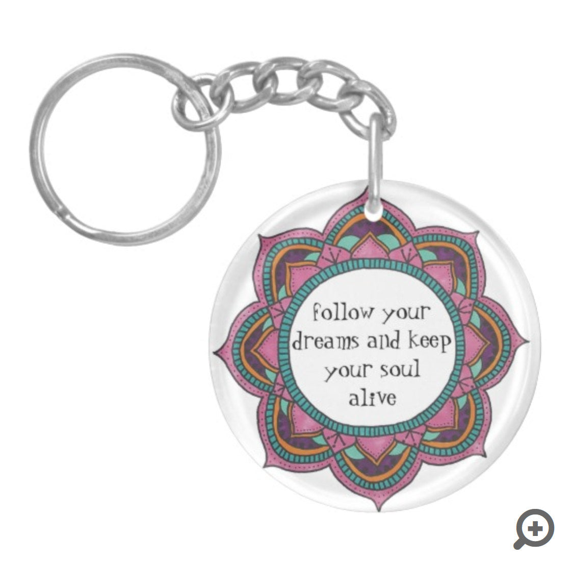 Spiritual Awakening (single-sided) Keychain Mandala Keychain Inspirational Quote