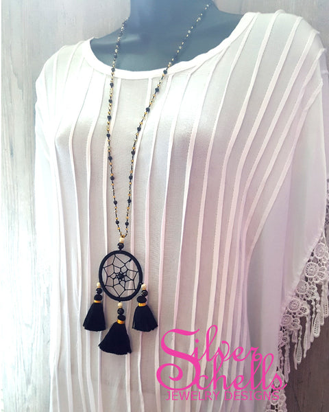 Hippie Chic Dream Catcher Tassels Black Long Beaded Necklace Jewelry