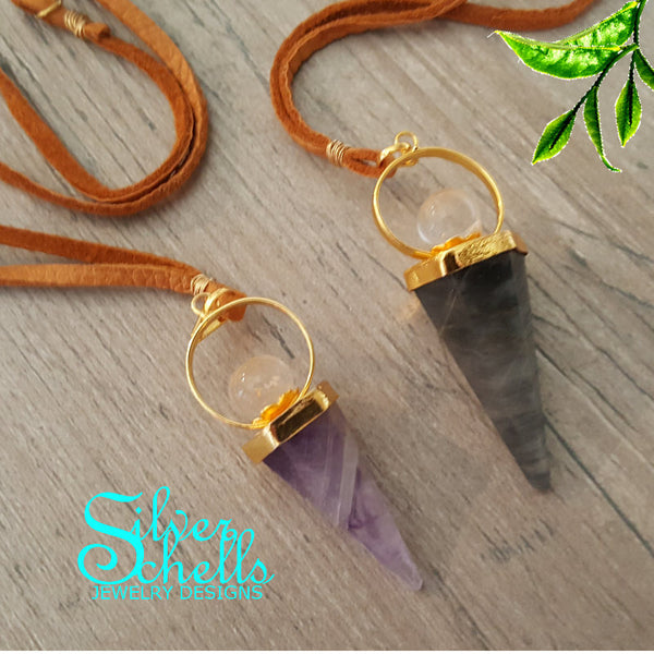 Amethyst  or Labrodite Cone Crystal Ball Brown suede Necklace