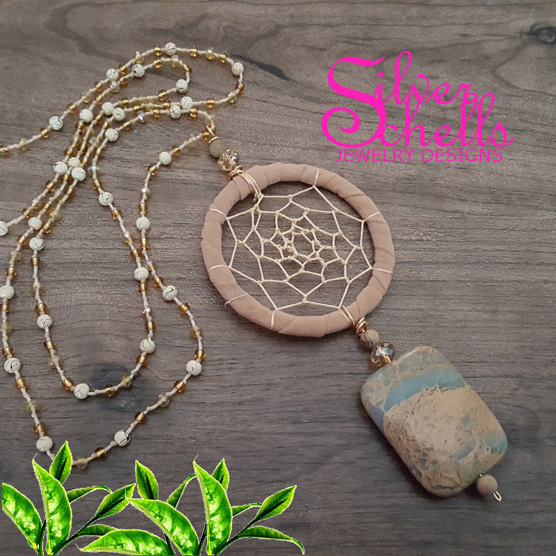 Hippie Chic Bohemian Dream Catcher Jasper Gemstone Tan Long Necklace Jewelry