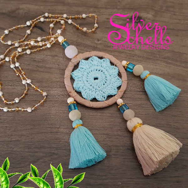 Hippie Chic Bohemian Dream Catcher Tassels Tan Light Blue Long Necklace Jewelry