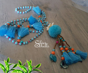 Romantic Playful Pom Pom Tassel Hippie Boho Chic Long Sea Shell Bead Blue Necklace