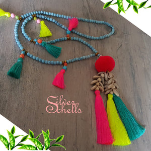 Romantic Playful Tassel Hippie Boho Chic Long Sea Shells Beaded Necklace Hot Pink Turquoise Bright Yellow