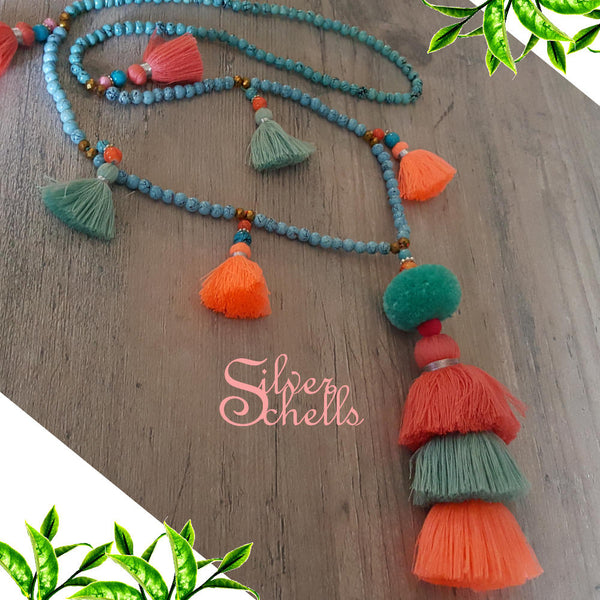 Romantic Trending Tassel Boho Chic Long Beaded Necklace Coral Turquoise Bright Orange