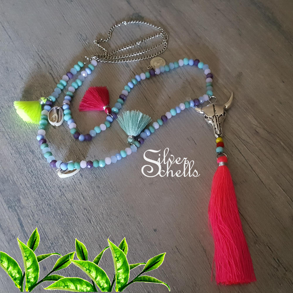 More Colors Bull Cow Head Skull Seashell Coin Tassel Hippie Boho Chic Long Necklace