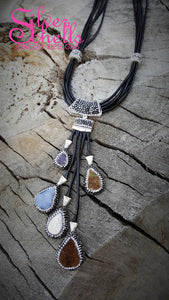 Gemstone Tassel Amethyst Pearl Aventurine Chalcedony Druzy Leather Necklace