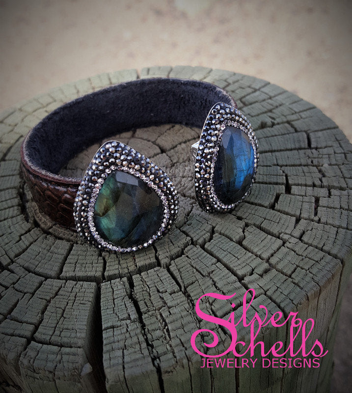 Bohemain Labradorite Gemstone and Crystal Leather Cuff Bracelet
