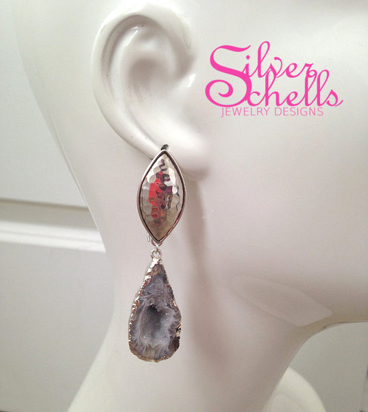 Romantic Tabasco Geode Earrings