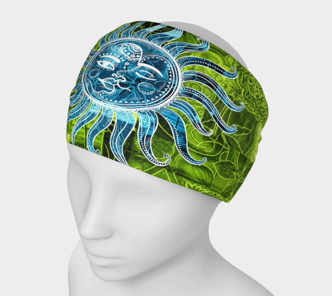 Azure Blue Lime Green Bohemian Goddess Headband