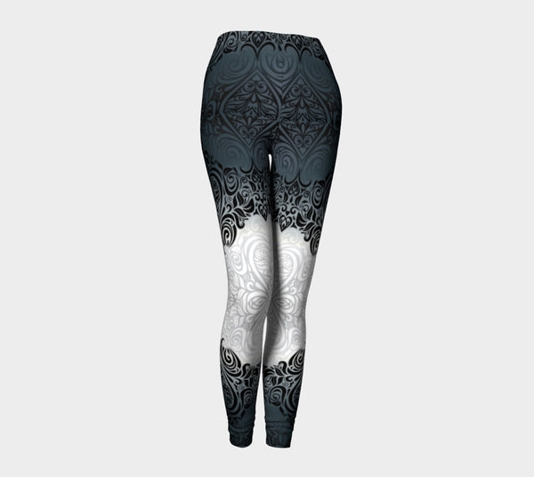 Black & White Floral Heart Yoga Leggings