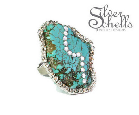 Turquoise Gemstone Swavorski Crystal Ring