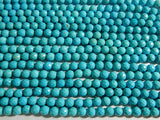 8mm Turquoise Magnesite Faceted Round Polished Gemstone Beads, 15.25 Inch Strand (IND2C73)