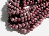 8mm A Grade Natural Lepidolite Polished Semi-Precious Round Beads, Half Strand (IND2C05)