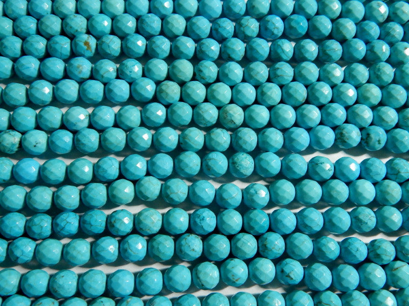 Turquoise Magnesite Faceted 8mm Round Beads