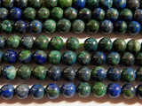 6mm Chrysocolla Beads - Round Polished Gemstone Beads, 15 Inch Strand (IND1C05)