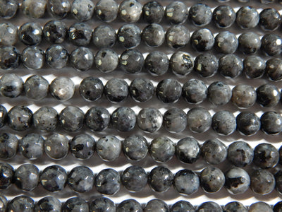 Larvikite 6mm Faceted Round Beads