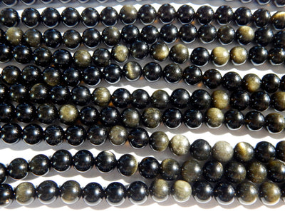 Golden Rainbow Obsidian AA Grade 8mm Round Beads