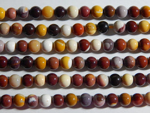 6-6.5mm Natural Mookaite Round Polished Gemstone Beads, Half Strand (IND1C05)