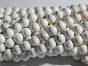 8mm - 8.5mm Natural Magnesite Round Polished Gemstone Beads, Full Strand or Half Strand (INDOC735)