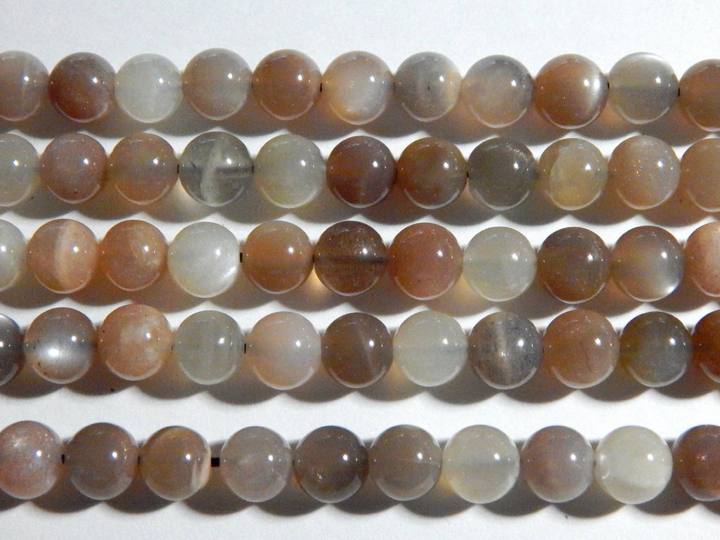8mm Multicolor Natural Moonstone Round Polished Semi Precious Beads, Half Strand (N2-IND2C44)