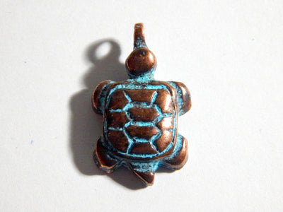 24X17mm Turtle Green Patina Verdigris Greek Mykonos Casting Pendant, 1 PC (INGOM70)