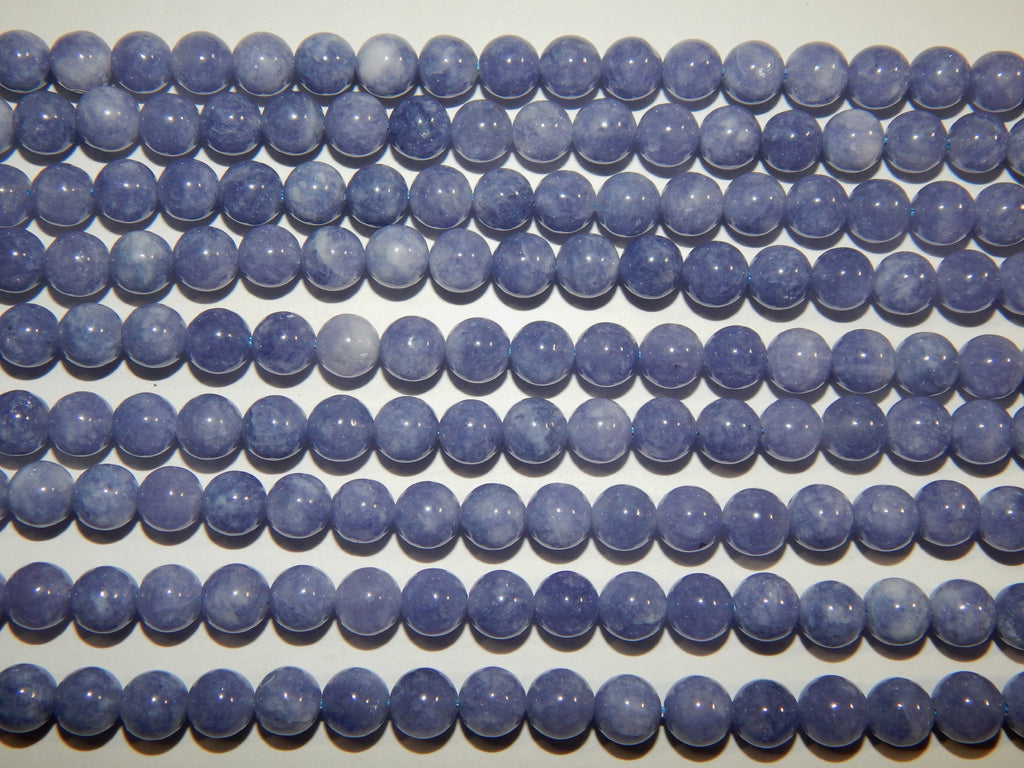 8mm Natural Blue Quartz - Dyed Round Polished Gemstone Beads, 15-15.25 Inch Strand (IND1C80)