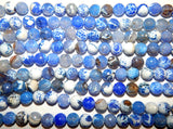 10mm Blue and White Fire Agate - Faceted Round Polished Gemstone Beads - 8 Inch Strand (IND1C02)