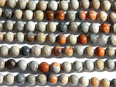 New Silver Leaf Jasper - 8mm Round Polished Gemstone Beads, 15.75 Inch Strand (IND2C52)