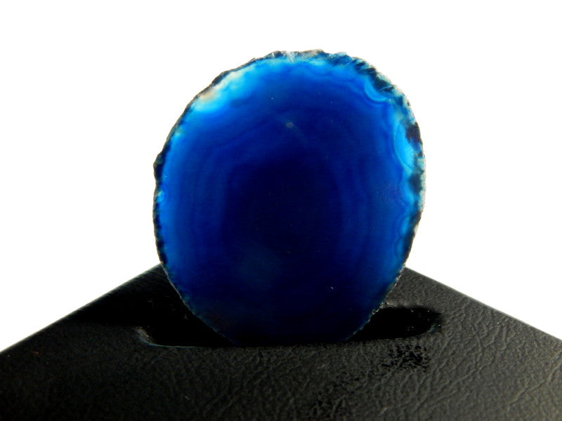 Deep Caribbean Blue Brazilian Agate Slice Gemstone UnDrilled Pendant for Display or Wire Wrapping (N7-INDOC80)