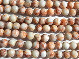 Red Veined Jasper - 8mm Round Polished Gemstone Beads, 15.25 Inch Strand (INDOC96)