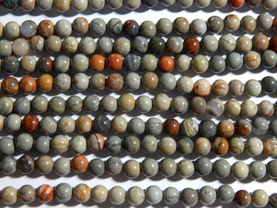 New Silver Leaf Jasper - 6mm Round Polished Gemstone Beads, 15.75 Inch Strand (IND1C68)