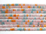 Jade Faceted Rondelle Beads - 2X4mm Pink, Aqua and Orange Color Jade -Gemstone Rondelle Beads, 14.5 Inch Strand (IND1C47)
