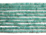 Jade Faceted Rondelle Beads - 2X4mm Teal Blue Color Jade -Gemstone Rondelle Beads, 14.75 Inch Strand (IND1C47)