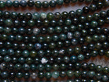 8mm Moss Agate Round Polished Gemstone Beads, Half Strand (INDOC695)