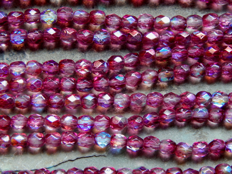 Preciosa Czech Fire Polished Glass Faceted Round Beads 4mm Coated Violet AB