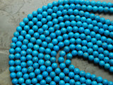 8mm Turquoise Howlite Round Polished Gemstone Beads, Half Strand (INDOC84)