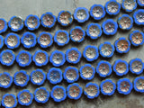 12mm Royal Blue Picasso - Czech Glass Table Cut Pansy - Hawaiian Flower Beads, 12 Pieces - 5.5 Inch Strand (INCH2C11)