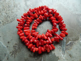 Bamboo Coral Beads - Tumbled Branch Sticks, 16.75 Inch Strand (IND3C97)