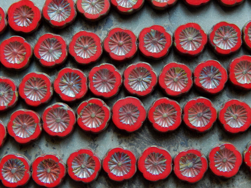 Czech Glasss Table Cut Hawaiian Flower Beads Approximately 12X4mm Red with Travertine Finish