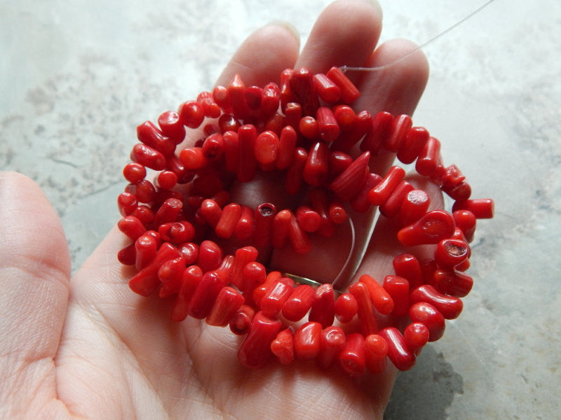 Bamboo Coral Beads Dyed Red Tumbled Sticks Approximately 7-12X4-6mm