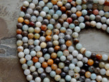 6mm Multicolor Amazonite Round Polished Semi-Precious Beads, 15.5 Inch Strand (IND1C89)